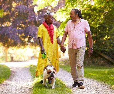 senior couple walking with pet bulldog
